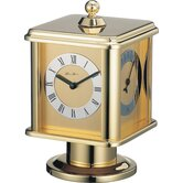 Rallye Revolving Cube Mantel Clock in Polished Brass