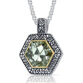 Hexagon Cut 6.00 Carats Green Amethyst Antique Style Pendant in Sterling Silver