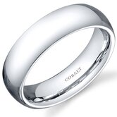 Traditional 6mm Comfort Fit Platinum Finish Mens Cobalt Wedding Band Ring