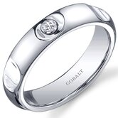 Solitaire Style 5mm Platinum Finish Notched Mens Cobalt Wedding Band Ring