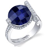 Artistic 7.00 Carats Checkerboard Round Cut Ring in Sterling Silver