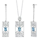"2.5"" 3.75 carats Radiant Cut Swiss Blue Topaz Pendant Earrings Set in Sterling Silver"