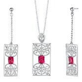 "2.5"" Radiant Cut Gemstone Pendant Earrings Set in Sterling Silver"