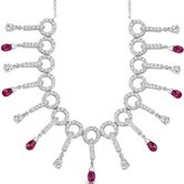 Dainty Chic Briolette Drop Ruby and White CZ Gemstone Necklace in Sterling Silver