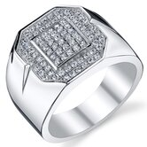 Sterling Silver Rhodium Finish Cubic Zirconia Men's Bold  Ring