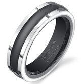 Tungsten Ceramic Two-Tone Rounded Center Wedding Band