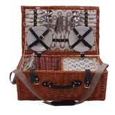 4 Person Wicker Hamper in Sorrento Black Lining