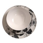 12 Piece Tropical Floral Dining Set in Black and White