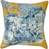 Country Toile 100% Wool Needlepoint Pillow