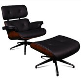 Classic Leather Lounge Chair and Ottoman