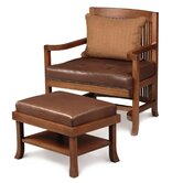 Frank Llloyd Wright Heurtley Spindle Back Chair and Ottoman