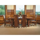 "Frank Llloyd Wright Dana-Thomas 84 - 124"" W x 48"" D Grand Extension 7 Piece Dining Set"