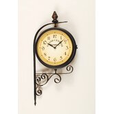 Bracket Wall Clock with Thermometer in Dark
