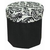 Storage Stool Jacquard in Black and White