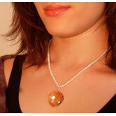 Sterling Silver Freshwater Pearl &amp; Swarovski Crystal&quot; Golden Moon&quot; Necklace