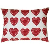 Heart All Over Pattern Block Print Sham Accent Pillow