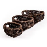 Patina Oval Water Hyacinth Basket (Set of 3)