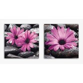 Deco Glass Fancy Flowers Wall Decor (Set of 2)