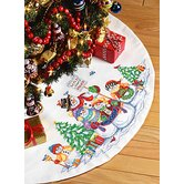 Snow Folks Tree Skirt Christmas Cross Stitch