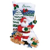 Sing Along With Santa Felt Stocking Cross Stitch