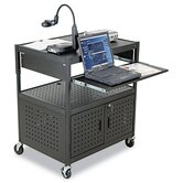 Height-Adjustable Steel FDB AV Cart in Black