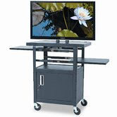 Two Shelf Height-Adjustable Flat Panel TV Cart, 24 x 18 x 46 to 62, Black