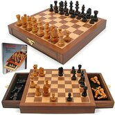 Inlaid Walnut Style Wood Cabinet with Staunton Wood Chessmen