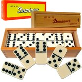 Premium Set of 28 Double Six Dominoes with Wood Case