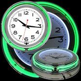 "14"" Double Ring Neon Clock Green Outer and White Inner"