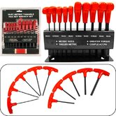 High Torque Ten Piece Metric T-Handle Hex Key Wrench Set