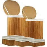 5-Piece Bamboo Hampers and Baskets