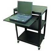 "Adjustable Steel AV Cart (26"" to 42"" High) with Pull-Out Shelf"