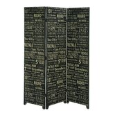 European Landmarks Three Panel Room Divider