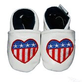 US Flag Heart Soft Sole Leather Baby Shoes
