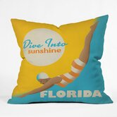 Anderson Design Group Polyester Dive Florida Indoor/Outdoor Throw Pillow