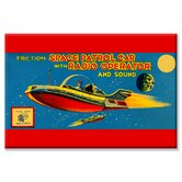 Space Patrol Car with Radio Operator Canvas Wall Art