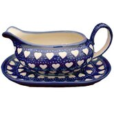 Love Hearts 2 Piece Hand-Decorated Gravy Boat and Saucer Set