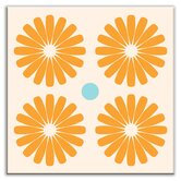 Folksy Love Decorative Tile in Pinwheels Orange