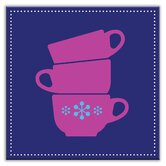 Kitschy Kitchen Decorative Tile in Coffee Time Blue-Purple
