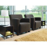 Jenny Leather Club Lounge Chair and Table Kit