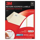 Permanent Adhesive White Mailing Labels, 1/2 x 1 3/4, White, 8000 Labels/Pack