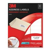 Permanent Adhesive White Laser Mailing Labels, 750/Pack