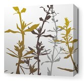 Morning Glory Wildflower Stretched Wall Art in Silver and Olive