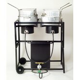 Two Burner Outdoor Cooking Cart Package with Two Rectangular Pots with Baskets