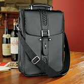 Genuine Leather 2 Bottle Wine Tote Bag