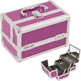 Cosmetic Makeup Train Case with Mirror and Extendable Trays