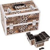 Leopard Pattern Professional Cosmetic Makeup Train Case with Brush Holder