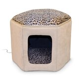 Thermo-Kitty Heated Sleep House in Tan / Leopard