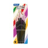 Assorted Size Oil Paint Brushes (Set of 9)