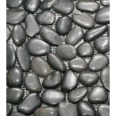 "12"" x 12"" Interlocking Pebble Mosaic in Black"